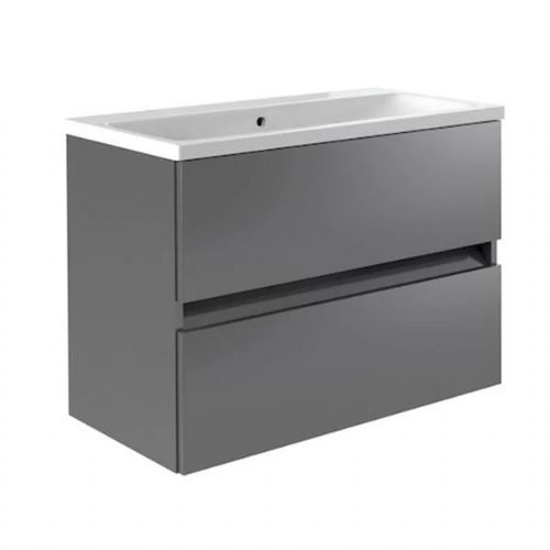 Kartell Ikon 2-Drawer Wall Mounted Vanity Unit With Basin - 800mm - Grey
